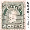 IRELAND - CIRCA 1956: A stamp printed in Ireland shows map of Ireland, series, circa 1956 - stock photo