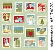 Large Set of Christmas Postage stamps - stock photo