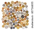 Many different coins collection on white background - stock photo