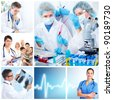 Medical doctors  in a laboratory. Health care collage. - stock photo