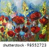 Painting picture of blooming spring poppy field oil painted on canvas - stock photo