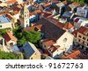 Panorama of Old Town Omis and Holy Spirit Church, Croatia - stock photo
