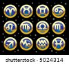 Raster version of vector gold icons of signs of the zodiac (contain the Clipping Path of all objects) - stock photo