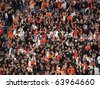 SAN FRANCISCO, CA - OCTOBER 20: Giants vs. Phillies: Giants fans go crazy for hit to help with mid-game rally of game four of the NLCS 2010 October 20, 2010 AT&T Park San Francisco. - stock photo