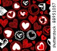 seamless hearts pattern - stock photo