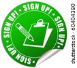Sign up sticker - stock photo