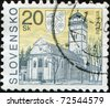 SLOVAKIA - CIRCA 2005: A stamp printed in Slovakia shows Roznava Town tower, city in Kosice Region, circa 2005 - stock photo