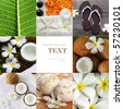 spa objecs with flowers towels collage - stock photo