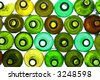 stack of assorted empty wine bottles backlited - stock photo