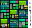 Stained glass window pattern with a blue-green tone, Square format - stock photo