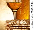 Still-life with wine and matzoh (jewish passover bread) - stock photo