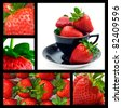 Strawberry collage - ripe fresh strawberries - stock photo