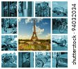 Symbols of Paris: Eiffel Tower, parisian palaces, bridge over the Seine in the night. France. Collage. - stock photo