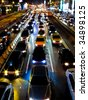 Traffic jam in the night of Taipei - stock photo