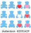 Twelve blue teddy bears with hearts. Raster version. Nice elements for scrapbook, greeting cards, Valentine's cards etc. - stock photo