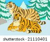 Two siberian tigers among carnivorous wood - stock photo