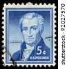 UNITED STATES - CIRCA 1954: A stamp printed in the United States shows portrait of the fifth President of the United States James Monroe (1758-1831), circa 1954 - stock photo