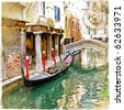 Venice - great italian landmarks vintage series -channels - stock photo