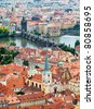 View of Prague Castle and Charles Bridge - stock photo