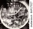 Vintage military airplane clock, industrial grunge background - stock photo