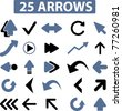 25 arrows icons, signs, vector - stock vector