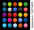 25 blank colorful web 2.0 round buttons. Shapes with colored reflection on black background - stock vector