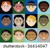 12 Boys Faces 2 with colorful background. Also available plain and with men, women, children and girls. - stock vector