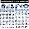 200 construction & network icons, signs, vector illustrations set - stock vector