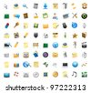 72 detailed vector icons for signs and interface symbols. - stock vector