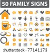 50 family icons, signs, vector illustrations - stock vector