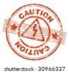 grunge rubber stamp with the text caution - stock vector