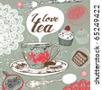 love tea card - stock vector