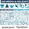 200 media & holidays icons, signs, vector - stock vector