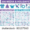 200 media & holidays icons, signs, vector illustrations set - stock vector