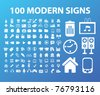 100 modern office, business, icons, signs, vector illustrations - stock vector