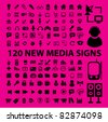 120 new media set of icons, signs, vector illustrations - stock vector