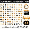100 new travel & recreation signs. vector - stock vector