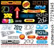 2012 new year labels, icons, logos tags and stamps - set of various conceptual vector design elements - stock vector