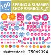 100 spring & summer shop symbols, elements, labels, vector - stock vector