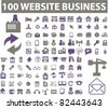 100 web & business icons, signs, vector illustrations - stock vector
