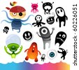 A collection of monster icons and elements. - stock vector