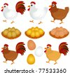 A colorful Theme of cute vector Icons : Chicken, Hen, Rooster isolated on white - stock vector