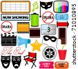 A colorful Theme of cute vector Icons : Drama, Entertainment, Film, movie - stock vector