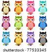 A colorful Theme of cute vector Icons : Night Owls isolated on white - stock vector
