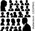 A set of men & women faces as head and shoulder profile silhouettes of people. - stock vector