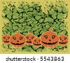 A vector illustration of stylized pumpkins on a grunge background. - stock vector