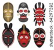 African Masks 2: Six African masks. No transparency and gradients used. - stock vector