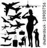 Airplane, stewardess and baggage silhouettes in very high detail - stock vector