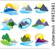 Amazing Nine Mountains And Hills ICONs - stock vector