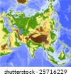 Asia. Physical vector map, colored according to elevation. Surrounding territory greyed out. 28 named layers, fully editable. Data source: NASA - stock vector